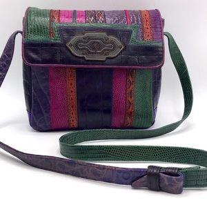 RARE Sharif Vintage Colorful Leather Crossbody